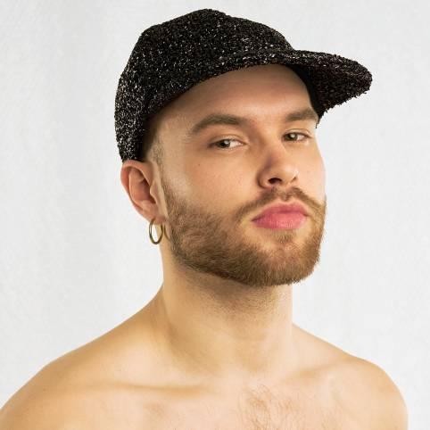 BLACK TINSEL CAP
