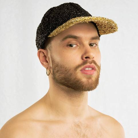 BLACK & GOLD TINSEL CAP
